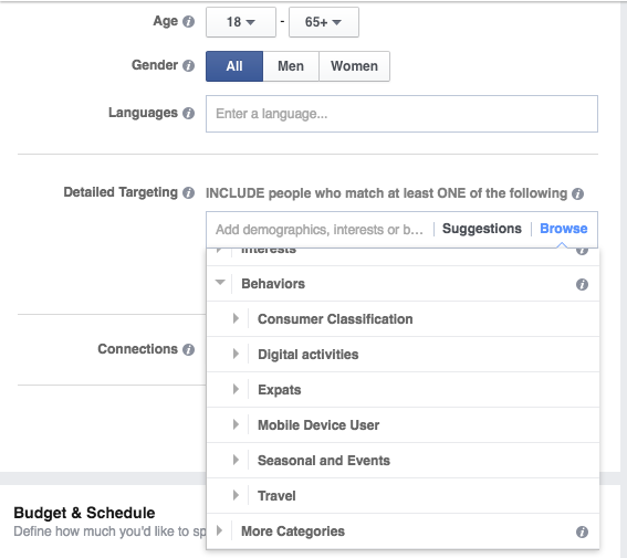 targeting facebook behaviour